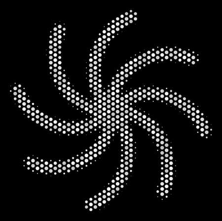 Pixelated white galaxy icon on a black background. Vector halftone pattern of galaxy symbol composed with sphere items. Ilustração