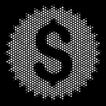 Pixel white financial seal icon on a black background. Vector halftone illustration of financial seal symbol made of sphere pixels.