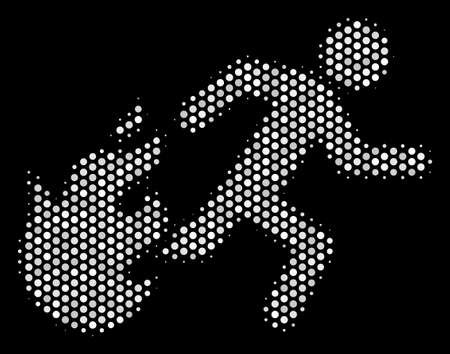 Pixelated white fired running man icon on a black background. Vector halftone mosaic of fired running man pictogram organized of circle elements. Illustration