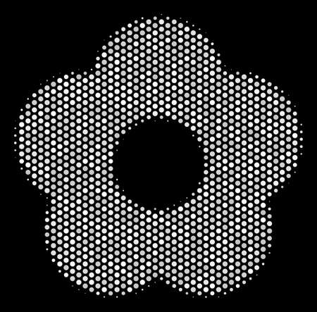 Pixelated white flower icon on a black background. Vector halftone collage of flower icon designed with sphere pixels. Illustration