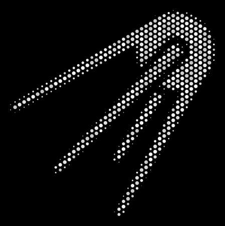 Dotted white first satellite icon on a black background. A Vector halftone composition of first satellite icon organized with circle items.