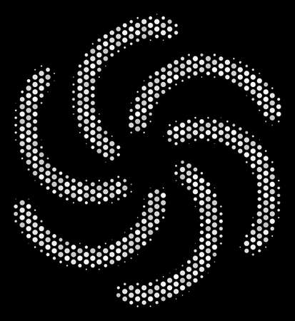 Pixel white galaxy icon on a black background. Vector halftone concept of galaxy symbol created with round items.