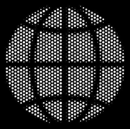 Pixelated white globe icon on a black background. A Vector halftone pattern of globe symbol organized of spherical points.