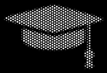 Pixelierte weiße Abschlusskappenikone auf einem schwarzen Hintergrund. Vektorhalbtonillustration des Graduierungskappenpiktogramms gebildet mit runden Punkten.