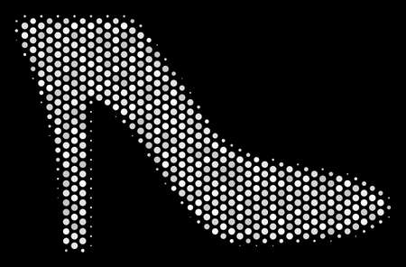 Pixelated white lady shoe icon on a black background. A Vector halftone pattern of lady shoe symbol formed from round points.
