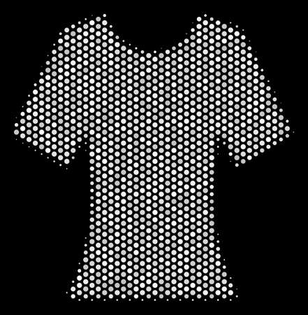 Dot white lady T-shirt icon on a black background. A Vector halftone mosaic of lady T-shirt symbol made with round elements. Illustration