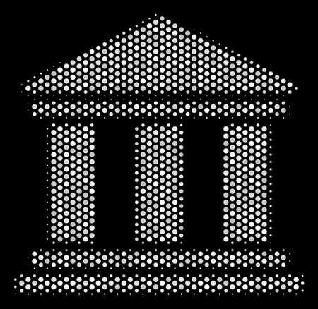 Pixelated white library building icon on a black background. A Vector halftone mosaic of library building icon made of circle pixels. Ilustração