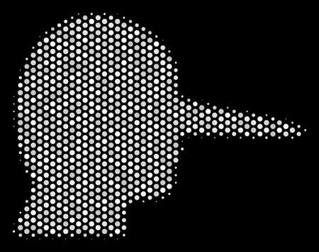 Pixel white lair icon on a black background. A Vector halftone concept of lair pictograph formed with round elements. Illustration