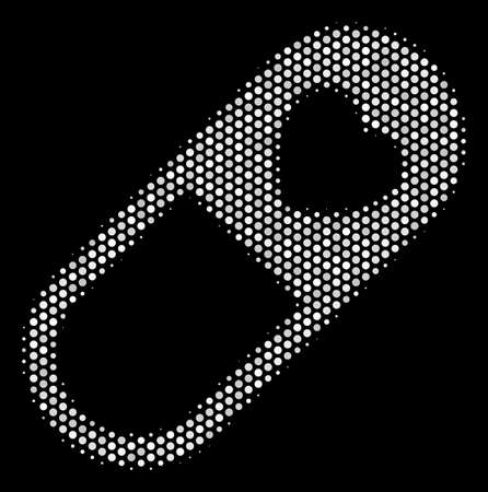 Dot white love granule icon on a black background. A Vector halftone collage of love granule pictograph combined from spherical points.