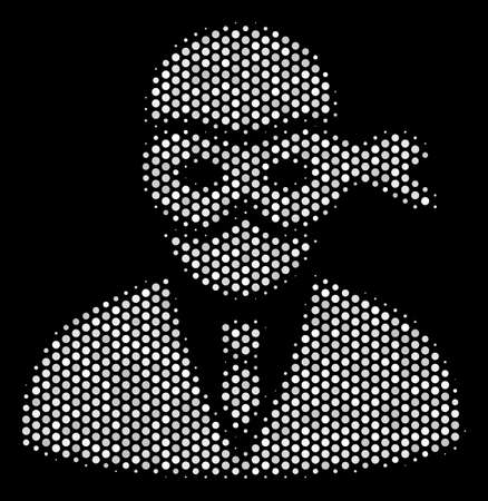 Pixel white masked thief icon on a black background. Vector halftone mosaic of masked thief icon formed with circle dots. Illustration