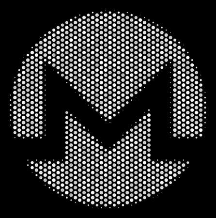Pixelated white Monero currency icon on a black background. Vector halftone collage of Monero currency icon formed with round elements. Illustration