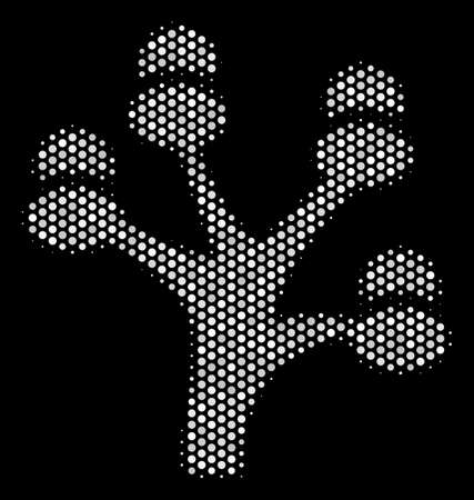 Dotted white money tree icon on a black background. Vector halftone concept of money tree icon constructed with spheric pixels.