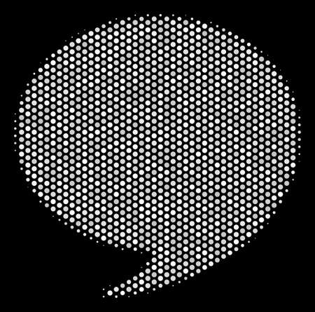 Dotted white quote icon on a black background. Vector halftone collage of quote symbol formed from circle items.