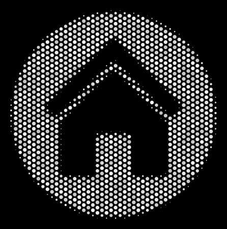 Dotted white real estate icon on a black background. Vector halftone pattern of real estate icon combined from round points.