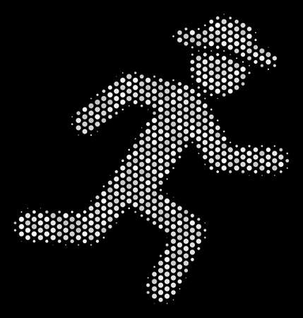 Dot white running gentleman icon on a black background. Vector halftone composition of running gentleman icon created of circle items. Illustration