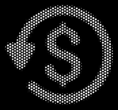 Dot white refund icon on a black background. Vector halftone composition of refund icon designed with round dots.