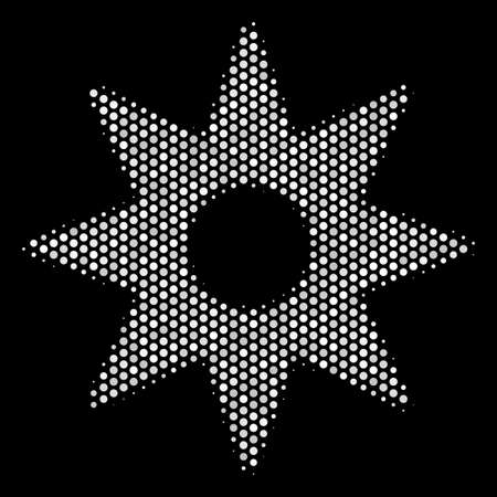 Pixel white new star icon on a black background. Vector halftone composition of new star icon formed of spheric items.