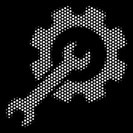 Dotted white setup tools icon on a black background. A Vector halftone mosaic of setup tools icon organized of spherical points.
