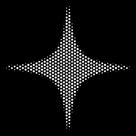 Dot white space star icon on a black background. Vector halftone pattern of space star icon created with circle elements.