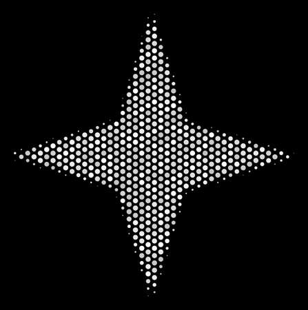 Pixel white space star icon on a black background. Vector halftone illustration of space star symbol organized from round points.