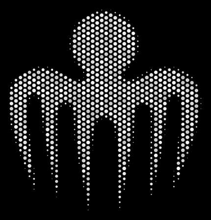 Pixel white specter octopus icon on a black background. A Vector halftone illustration of specter octopus icon created of spherical elements.