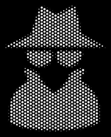 Pixel white spy icon on a black background. A Vector halftone illustration of spy pictograph constructed from round points.