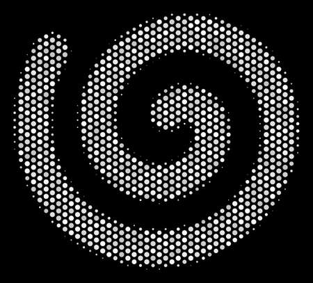 Pixelated white spiral icon on a black background. A Vector halftone collage of spiral icon combined from round elements.