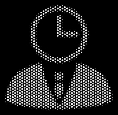Pixel white time manager icon on a black background. Vector halftone concept of time manager icon composed from spheric dots. Illustration