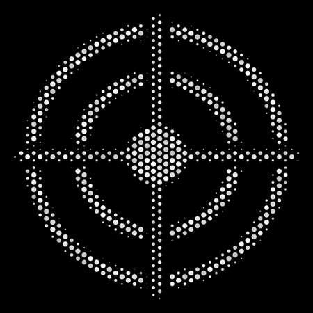 Pixel white target bulls eye icon on a black background. A Vector halftone mosaic of target bulls eye symbol made of spherical pixels.