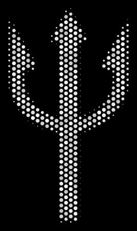 Dot white trident fork icon on a black background. A Vector halftone collage of trident fork symbol combined with round elements.