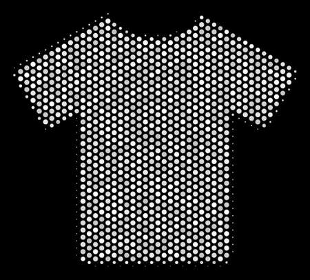 Dot white T-shirt icon on a black background. A Vector halftone illustration of T-shirt icon designed with round items. Illustration