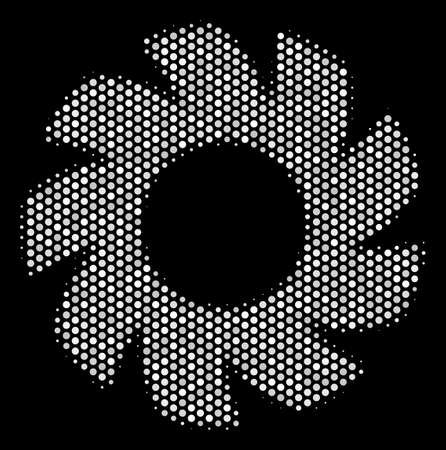 Dotted white turbine icon on a black background. A Vector halftone pattern of turbine symbol designed with spherical points. Imagens - 100751933