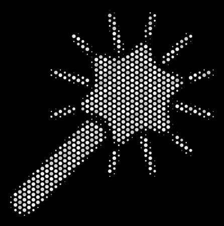 Dotted white wand magic tool icon on a black background. A Vector halftone collage of wand magic tool symbol constructed from circle points.