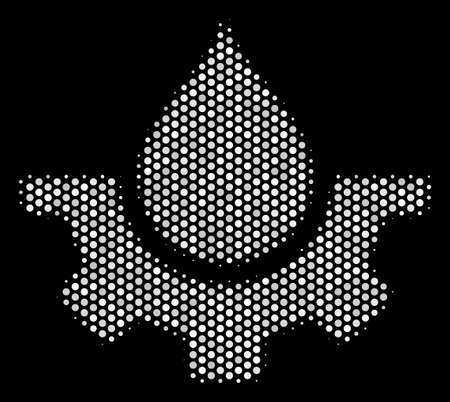 Dotted white water service icon on a black background. A Vector halftone concept of water service pictograph formed of circle points. Ilustração