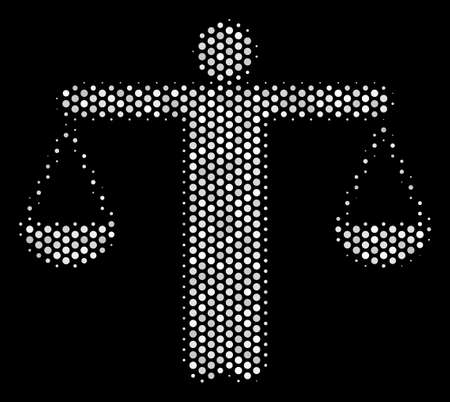 Dotted white weight comparing person icon on a black background. A Vector halftone concept of weight comparing person symbol composed from circle items.