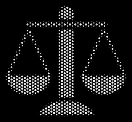 Dotted white weight scales icon on a black background. A Vector halftone mosaic of weight scales symbol designed with spheric dots.
