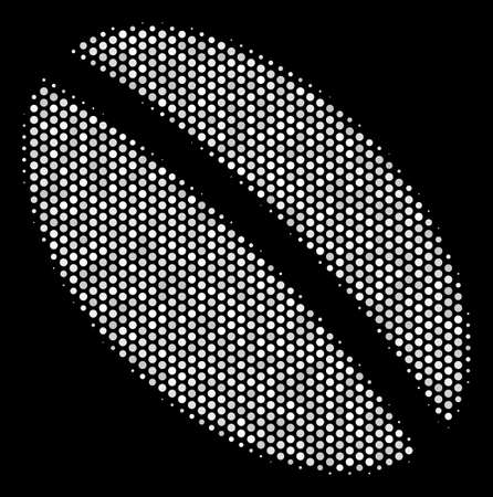 Pixelated white wheat seed icon on a black background. A Vector halftone concept of wheat seed icon done of spherical elements.