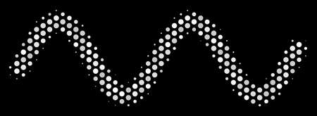 Dotted white sinusoidal wave icon on a black background. A Vector halftone collage of sinusoidal wave icon composed with round dots. Illustration