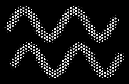 Dotted white sinusoidal waves icon on a black background. A Vector halftone illustration of sinusoidal waves pictograph formed of spherical pixels.