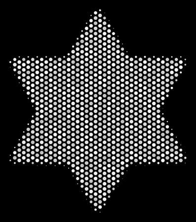 Dot white six pointed star icon on a black background. A Vector halftone collage of six pointed star icon composed from circle dots.
