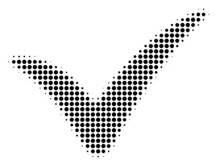 Dotted black yes icon. Vector halftone composition of yes pictogram combined from spheric pixels. Illustration
