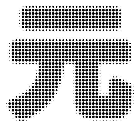 Dot black yuan renminbi icon. Vector halftone mosaic of yuan renminbi pictogram constructed with circle points.