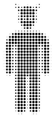 Dotted black daemon icon. Vector halftone collage of daemon icon organized from round items. Ilustração