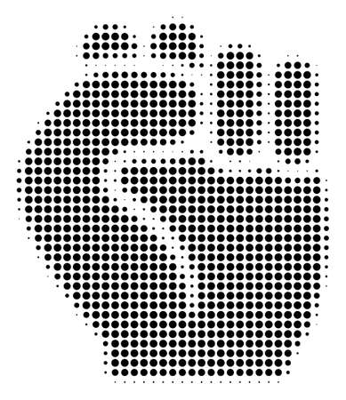 Dot black fist icon. Vector halftone collage of fist pictogram done with spheric items. 矢量图像