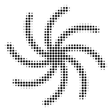 Pixelated black galaxy icon. Vector halftone concept of galaxy symbol designed from round items.