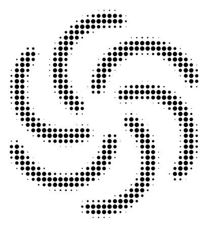 Pixelated black galaxy icon. Vector halftone collage of galaxy icon created of round pixels. Çizim