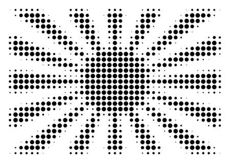 Pixel black Japanese rising sun icon. Vector halftone collage of Japanese rising sun symbol made of spheric points.