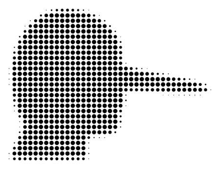 Pixelated black lier icon. Vector halftone composition of lier symbol combined of spheric points.