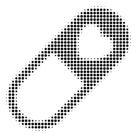 Pixel black love granule icon. Vector halftone collage of love granule icon made with round pixels. Stock Illustratie