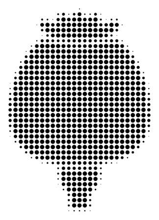 Pixel black opium poppy icon. Vector halftone mosaic of opium poppy symbol made with round dots.
